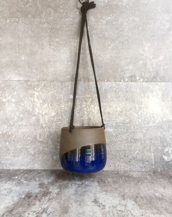 Large Ceramic planter-Blue- hanging flower pot -herb planter