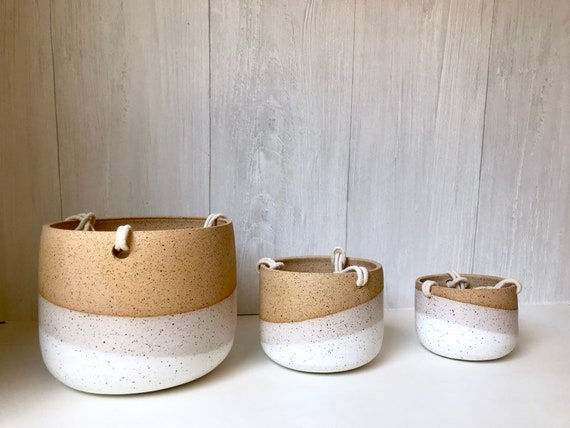 Speckled-Ceramic hanging planter-white on beige stoneware- hanging flower pot - with drainage hole- three sizes available
