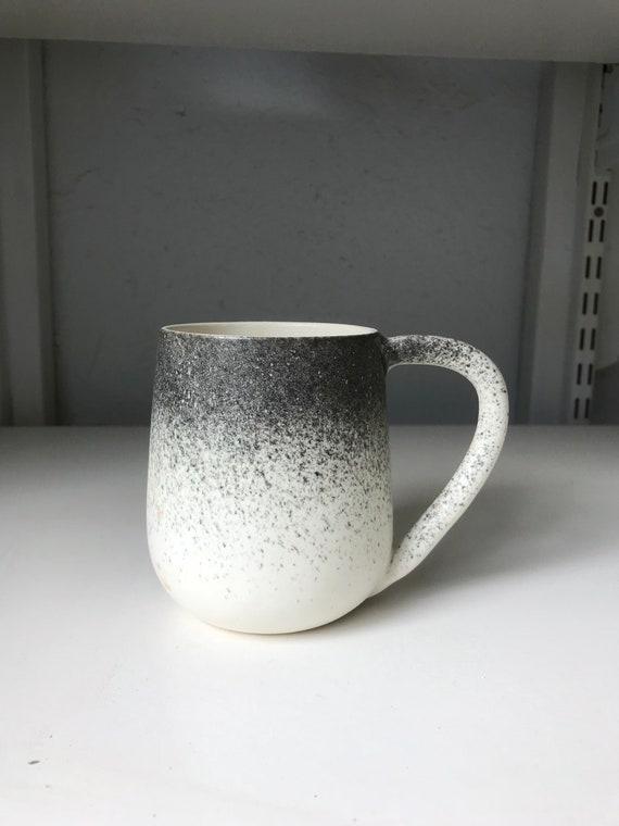 ceramic mug - coffee cup -modern  white and black spray.