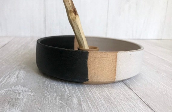Tri color- ceramic palo santo incense burner- ceramic tray- palo santo wood stick optional! white, black and beige