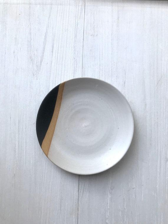 Tri color-small plate- dessert plate- multipurpose dish-kitchenware-White black and beige