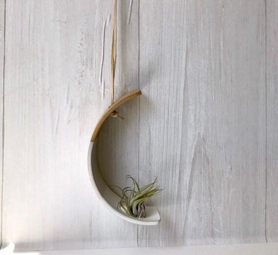 Beige- Hanging crescent moon Airplant holder- ceramic- plant vase arc- two tone white on beige stoneware