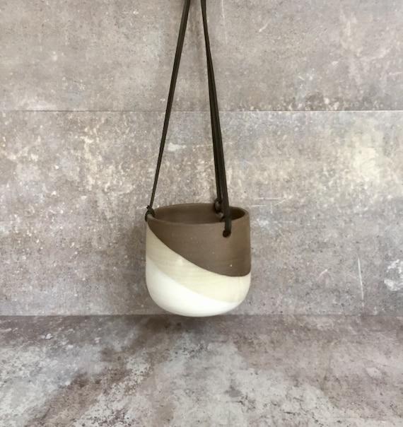 Large Ceramic planter-white on chocolate stoneware-   Hanging flower pot - herb planter
