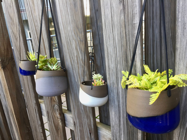 Large Ceramic Planter Blue Hanging Flower Pot Herb Planter