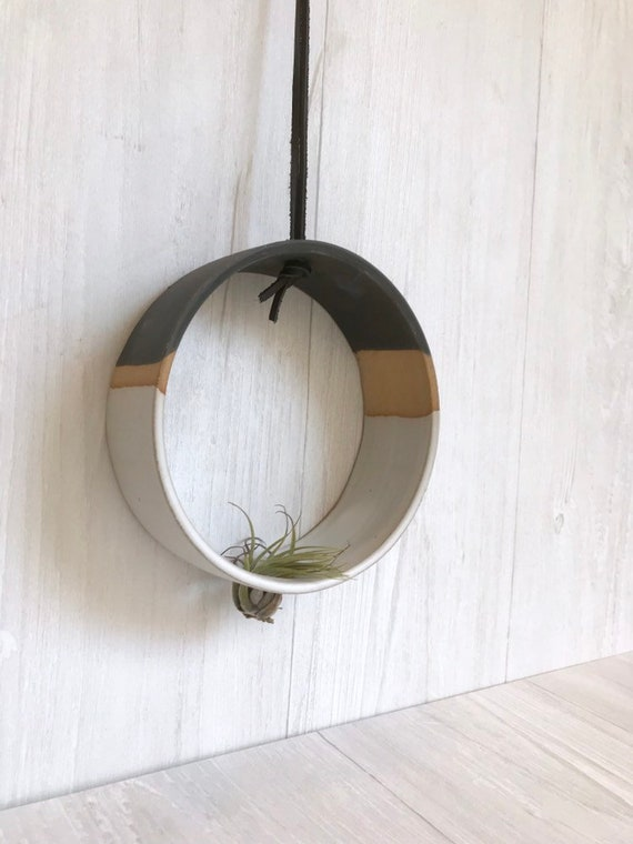 Tri color - Hanging Circular Airplant holder- ceramic- plant vase- 3 tone white and black on beige stoneware