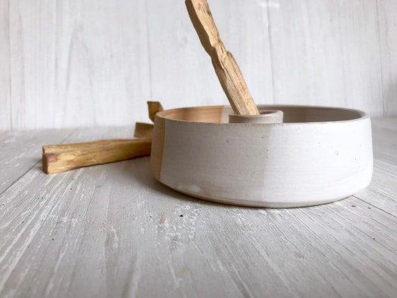 Beige- ceramic palo santo incense burner- ceramic tray- palo santo wood stick optional! white and beige
