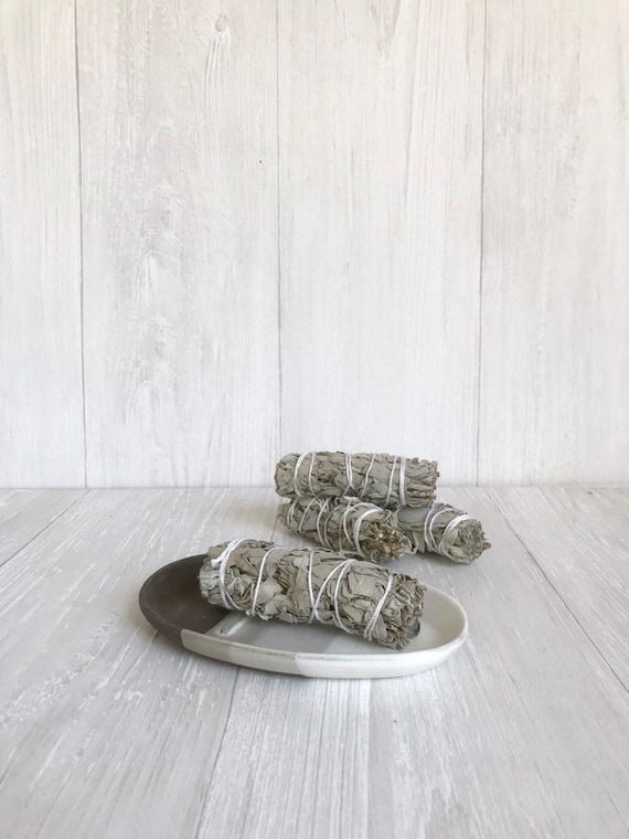 Chocolate- smuge dish- sage stick optional - ceramic sage stick dish- white on  chocolate clay