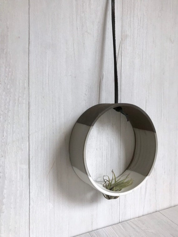 Chocolate- Hanging Circular Airplant holder- ceramic- plant holder- two tone white on dark stoneware