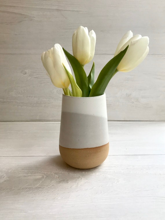 Beige-small Ceramic vase- white on beige stoneware- bud vase