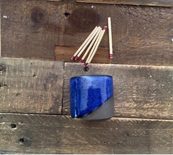 Ceramic Matchstick holder- Strike on side- Cobalt blue- small jar.