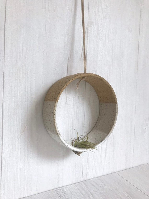 Speckled - Hanging Circular Airplant holder- ceramic- plant vase- two tone white on spckled stoneware