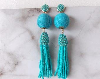 Turquoise Beaded Tassel Statement Earrings