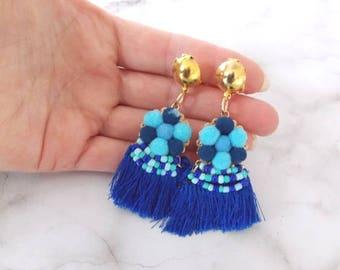 Blue Pom Pom and Tassel Clip-On Boho Earrings
