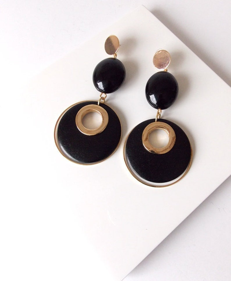 Large Black And Gold Wooden Disc Statement Earrings