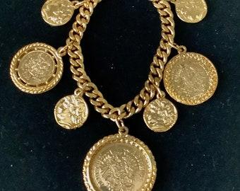 Vintage Gold Coin Charm Bracelet