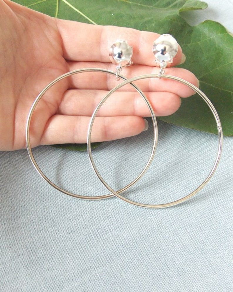 CLIP ON Silver Handmade Large Hoop Earrings