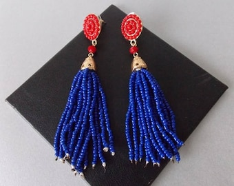 Blue and Red  Beaded Tassel Statement Earrings
