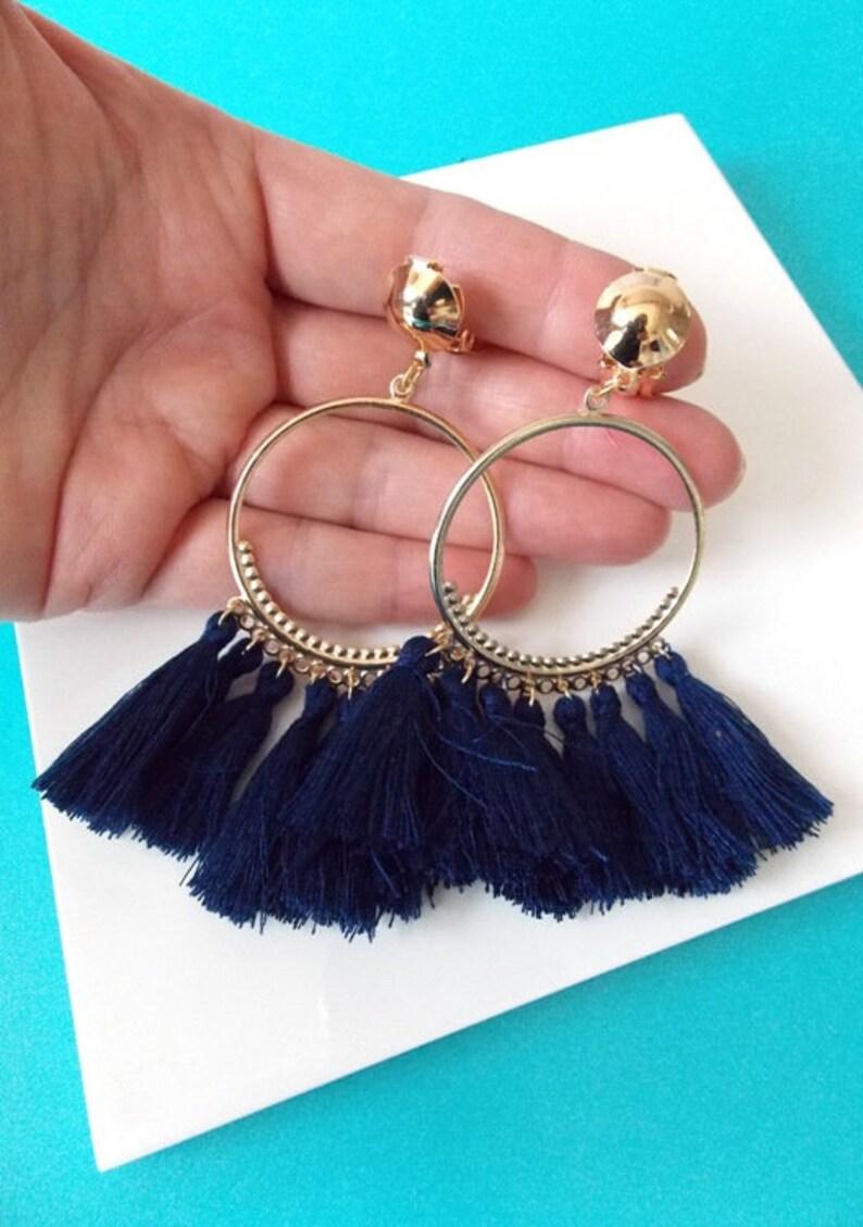 Clip-On Navy Blue Tassel Hoop Drop Boho Handmade Earrings