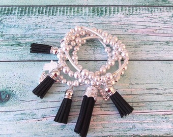 Silver Beaded and Black Tassel Stretch Style Stacking Bracelet Set