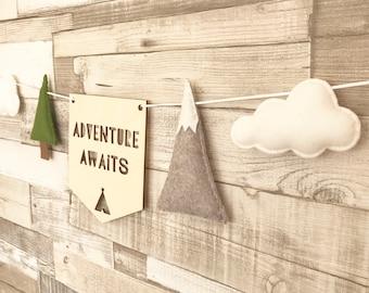 Adventure Awaits Bunting, Mountain Nursery Decor, Nursery, Scandi Style Decor, Kids Bunting,Kids Bedroom Decor,Nursery Wall Decor, Mountain