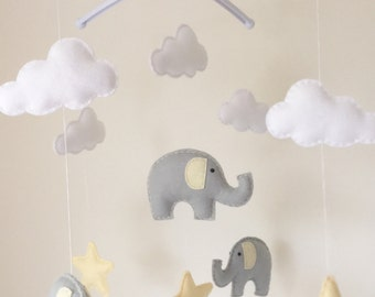 Elephants Clouds & Stars Musical Cot Mobile, Baby Mobile, Nursery Mobile, Elephant  Nursery, Nursery Decor, Elephant Theme, Grey Nursery Dec