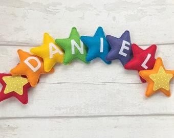 Personalised Rainbow Bunting Garland , Stars baby nursery decoration, Rainbow nursery, Rainbow bunting, name bunting, star garland, rainbow