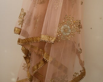 feb1956d9b Bridal Indian Wedding Dupatta long net embroidered scarf Punjabi dress  dupattas with zari embroidery festival chunni lehenga stole