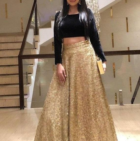 Golden Lehenga Indian Skirt Crop Top Wedding Party Wear Etsy