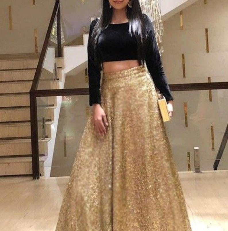adafdbceb Golden Lehenga Indian Lehenga Wedding Party wear Designer | Etsy