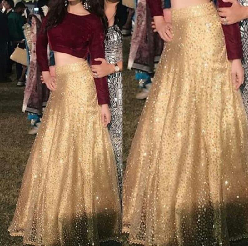 9cf44d13f7cfa Golden Lehenga Indian Lehenga Crop top and skirt Wedding Party
