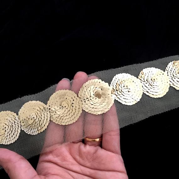 A1, garniture de Yards 9 Yards de indien Sequin doré garniture sur embellissements de coupe Net saree base frontière bord d34dd2