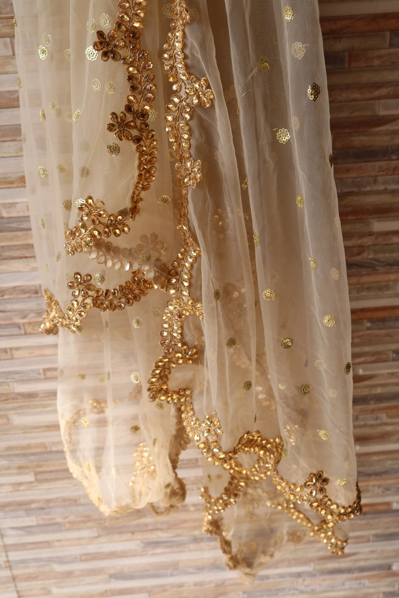 Golden Indian Dupatta party wear  Long net embroidered scarf image 0