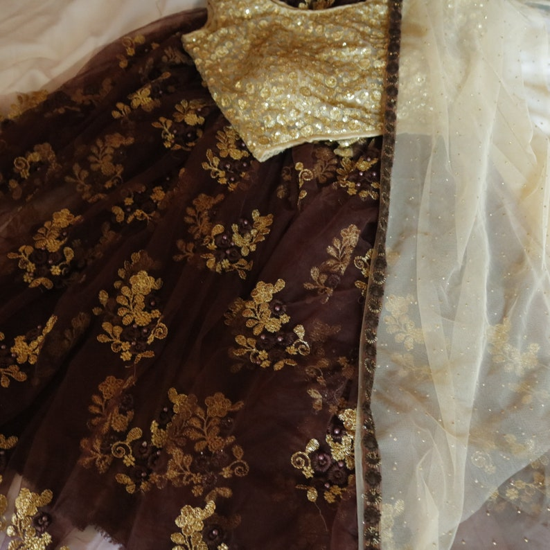 Custom order Made to measure Indian Lehenga choli skirt with gold sequin blouse top with dupatta