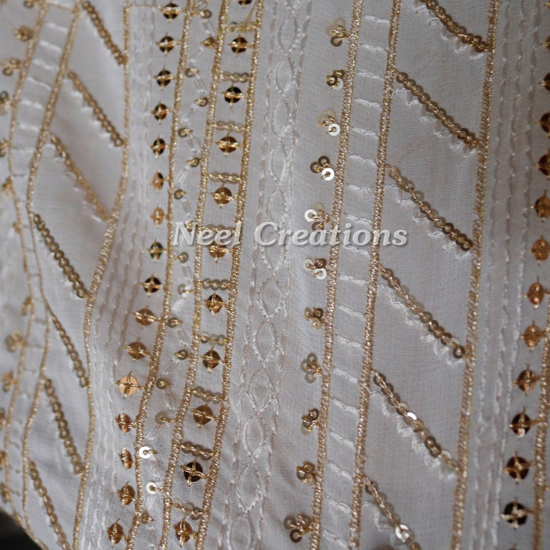 Crafting Sewing Costumes Dyeable Dye-able Ivory Georgette Sequin Embroidered Fabric by the Yard Indian Sequin fabrics
