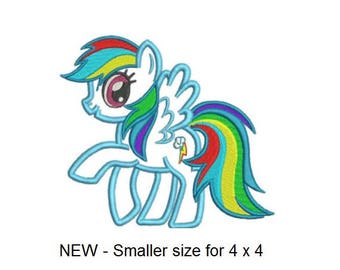 Rainbow Pony Applique & Part Fill Embroidery Design - New Smaller Size for 4 x 4 Hoop - INSTANT DOWNLOAD