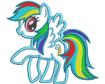 Rainbow Dash Applique & Part Fill Embroidery Design in 2 Sizes - INSTANT DOWNLOAD
