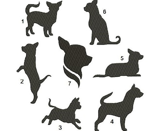 Chihuahua Embroidery Designs - 7 Different Designs - INSTANT DOWNLOAD