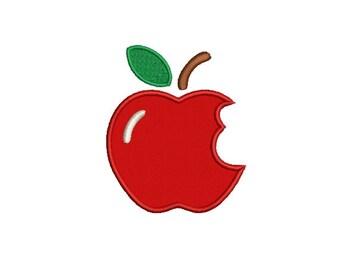 Apple Applique Embroidery Design - Instant Download