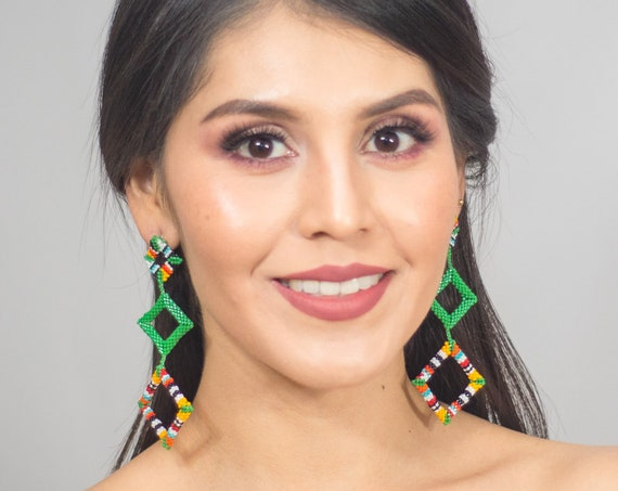 Beaded Boho Earrings, Modern Geometric Earrings, Abstract, Native American Beaded Earrings, Miyuki Beads, Post Earrings, Indigenous Made