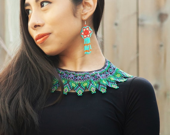 Huichol Native American Necklace, Exotic Tribal Boho Beaded Necklace, Huichol Necklace, Tribal High Fashion Necklace, Modern Tribal Jewelry