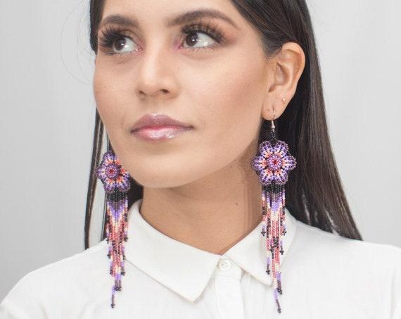 Long Beaded Earrings, Chandelier Flower Earrings, Native American Should Dusters, Chic, Purple, Boho Handmade Earrings, Indigenous Made
