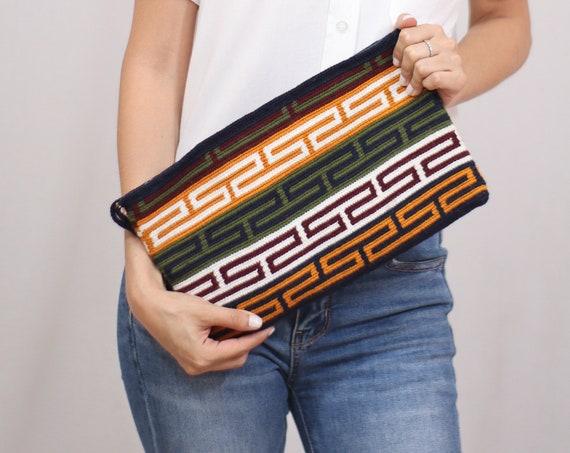 Tribal Pattern Handbag, Boho Handbag, Crochet Clutch Purse, Boho Purse, Intricate Design, Large Handbag, Handmade   Biulu Artisan Boutique