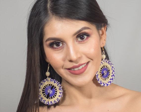 Boho Wheel Earrings, Native American Wicker Earrings, Wheel Earrings, Tribal Boho, Statement Earrings, Ultra Lightweight, Indigenous Made