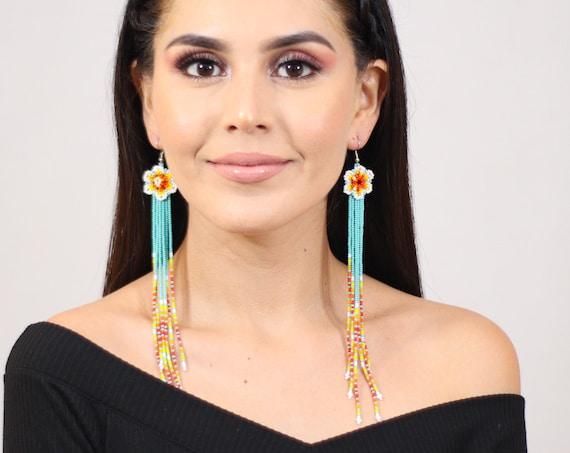Boho Beaded Earrings, Long,  Native American Beaded Earrings, Dainty Chic, Flower Earrings, Shoulder Dusters, Handmade, Indigenous Made