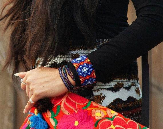 Peyote Statement Bracelet, Mexican Style Boho Bracelet, Bold Beaded Bracelet, Beaded Jewelry, Huichol Bracelet, Blue Peyote Bracelet