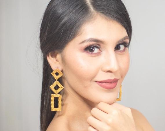 Contemporary Native Beaded Earrings, Matte Gold, Geometric Earrings, Beaded Boho Earrings, Abstract, Miyuki, Post Earrings, Handmade