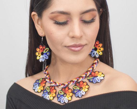 Tribal Boho Jewelry Set, Native American Beaded Necklace, Beaded Earrings, Beaded Boho Necklace, Seed Bead Jewelry, Statement Jewelry