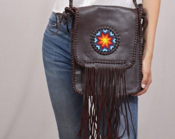 Boho Leather Purse, Dark Brown, Rustic Leather Purse, Native Style Beaded Purse, Leather Bag with Fringe, Boho Purse, Handmade
