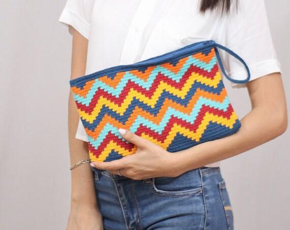 Boho Hand Purse, Boho Handbag, Crochet Clutch Purse,, Colorful, Intricate Design, Large Handbag, Handmade   Biulu Artisan Boutique