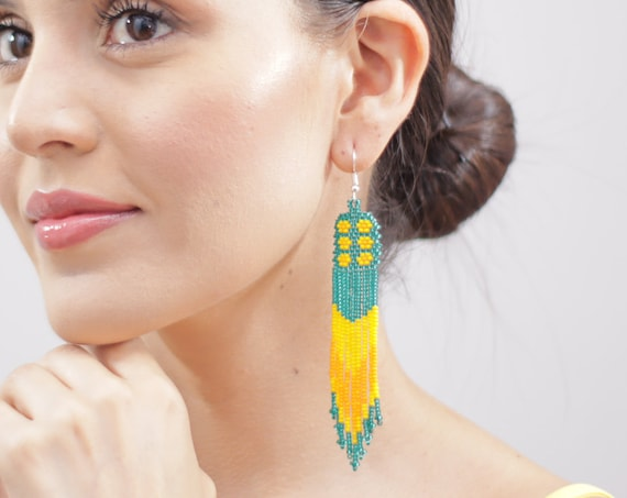 Boho Beaded Earrings, Green, Yellow, Dangle Earrings, Indigenous Made Jewelry, Native American Beaded Earrings, Authentic, Handmade Earrings
